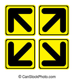 Arrows out - Four big yellow arrows signs composition out