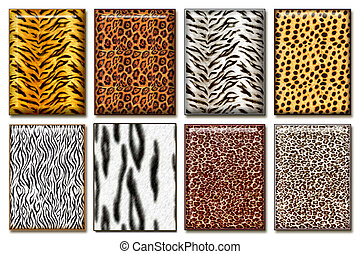 Wild animal skin - Eight wild African animal skin texture...