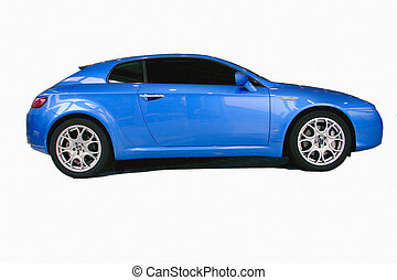 blue sports car with no logos including drop shadow on white...