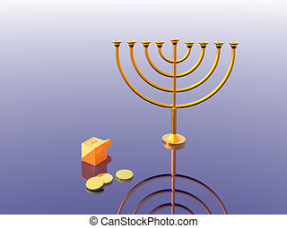 Hanukkah illustration. Menorah. 3D. Look my portfolio.