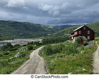 House in mountains - Norway - Cloudy weather and a nice,...