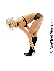 fit blond in black lingeire - fit blond in black lingerie...