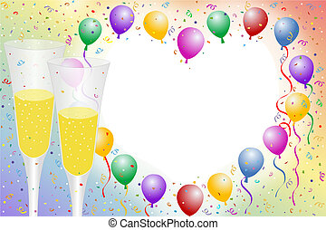 Balloon borders - Champagne celebration for New Years,...