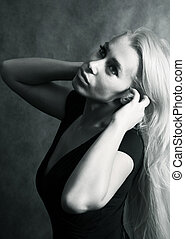 Beautiful woman - Portrait of the beautiful blonde in studio...