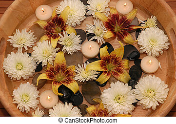 Aroma Therapy - Various flowers, pebbles, floating candles...