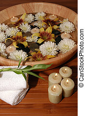 Spa Treatment - Various flowers, pebbles, floating candles...