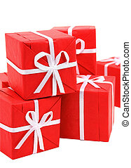 Red gift boxes on white background (clipping path included)...