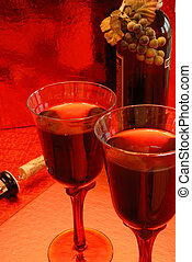 Glasses of Merlot Wine - Glasses of merlot wine, the bottle...