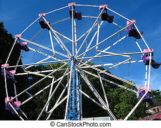 ferris wheel-2 - large ferris wheel with royal blue sky in...