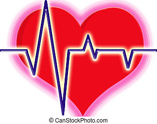 heart beat - illustration of red heart with lines being...
