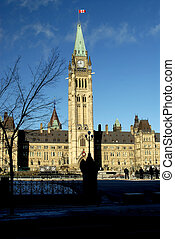 Canadian Parliament Building Showing The Peace Tower,...