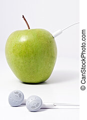 More Natural Music - An apple music player, a green apple...