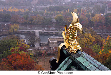 Osaka Castle view during autumn NOTE TO INSPECTOR: All...