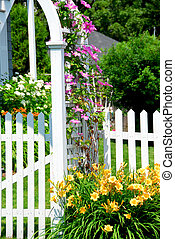 Garden - White picket fence and pink clematis at country...