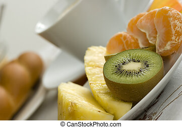diet breakfast with fresh fruits close up