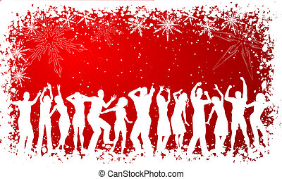 Christmas party - People dancing on winter background