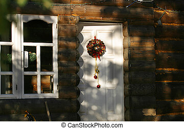 Christmas ornament - Door with a christmas ornament