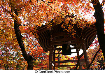 Kyoto autumn shrine - Kyoto shrine bell during autumn in...