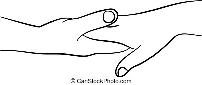 touching hands - a simple line drawing of two hands touching...