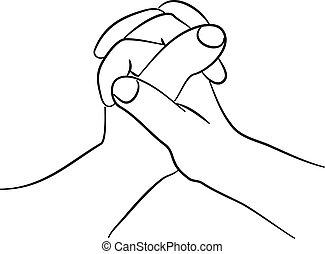 segurar, mãos