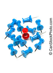Winner - A red push pin among blue push pins (concept of...