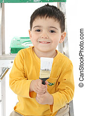 Toddler and Paint Brush - Toddler boy on ladder with paint...
