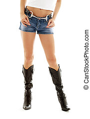 cowboy boots and denim shorts 2 - long legs in cowboy boots...