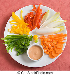 Vegetable appetizer - An appetizer plate with sliced...