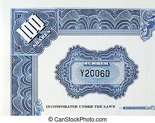 Shares certificate with serial number - Blue print on a 100...