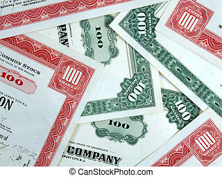 Capital stock certificates - Red and green share...