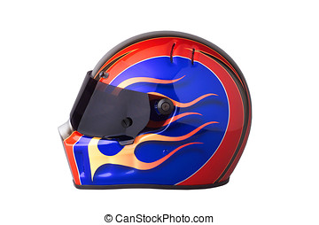 racing helmet - colorful racing helmet, with flames,tinted...