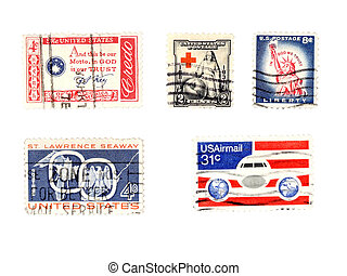 Old US postage stamps - collectibles - Cancelled postage...