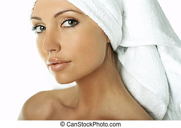 Beauty After Bath - Portrait of Fresh and Beautiful brunette...