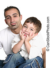 Father and child - Father and son wearing casual clothes...