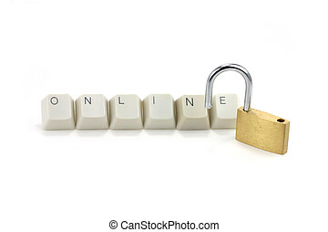 concept of online safety - letter keys close up, concept of...