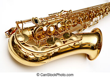 Gold saxophone isolated over white. Musical Instrument.