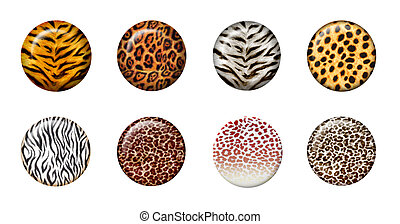 3d wild buttons - Eight African wild animal skins in 3d...