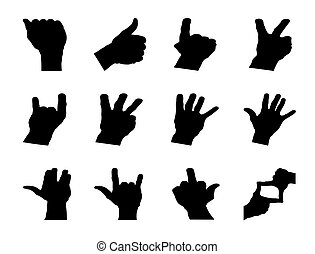 Hand signals - Different hand signals shape isolated on...