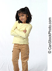 Sassy - cute little girl with dark hair and eyes with...