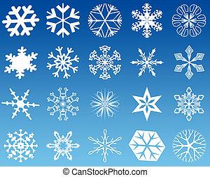 Snowflakes twenty - Twenty new 2d shapes of white snowflakes