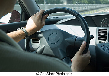 High speed driving (Nissan) - inner view of a car driving on...