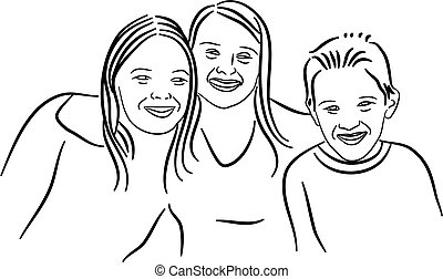siblings - simple line drawing of two sisters and a brother...