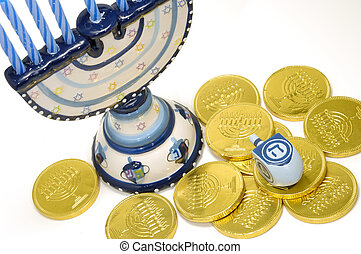 Chanukah - Photo of a Menorah, Dreidel and Gelt - Chanukah...