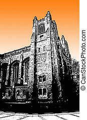 University building grunge style graphic in black and white