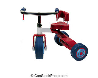Tricycle - A red, white, and blue Tricycle,over white