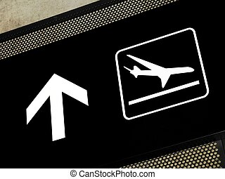 Arrivals area sign - Airport sign pointing to arrival area,...
