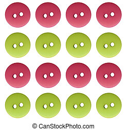pink n green buttons - 4 pink and 4 green buttons in rows of...