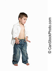 Child with hands in jeans