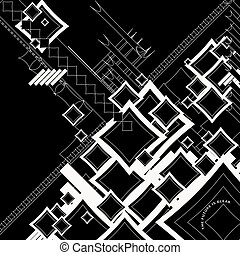 ebb flow outlined square neg - An abstract image that is...