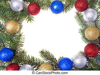 Christmas frame with glass balls